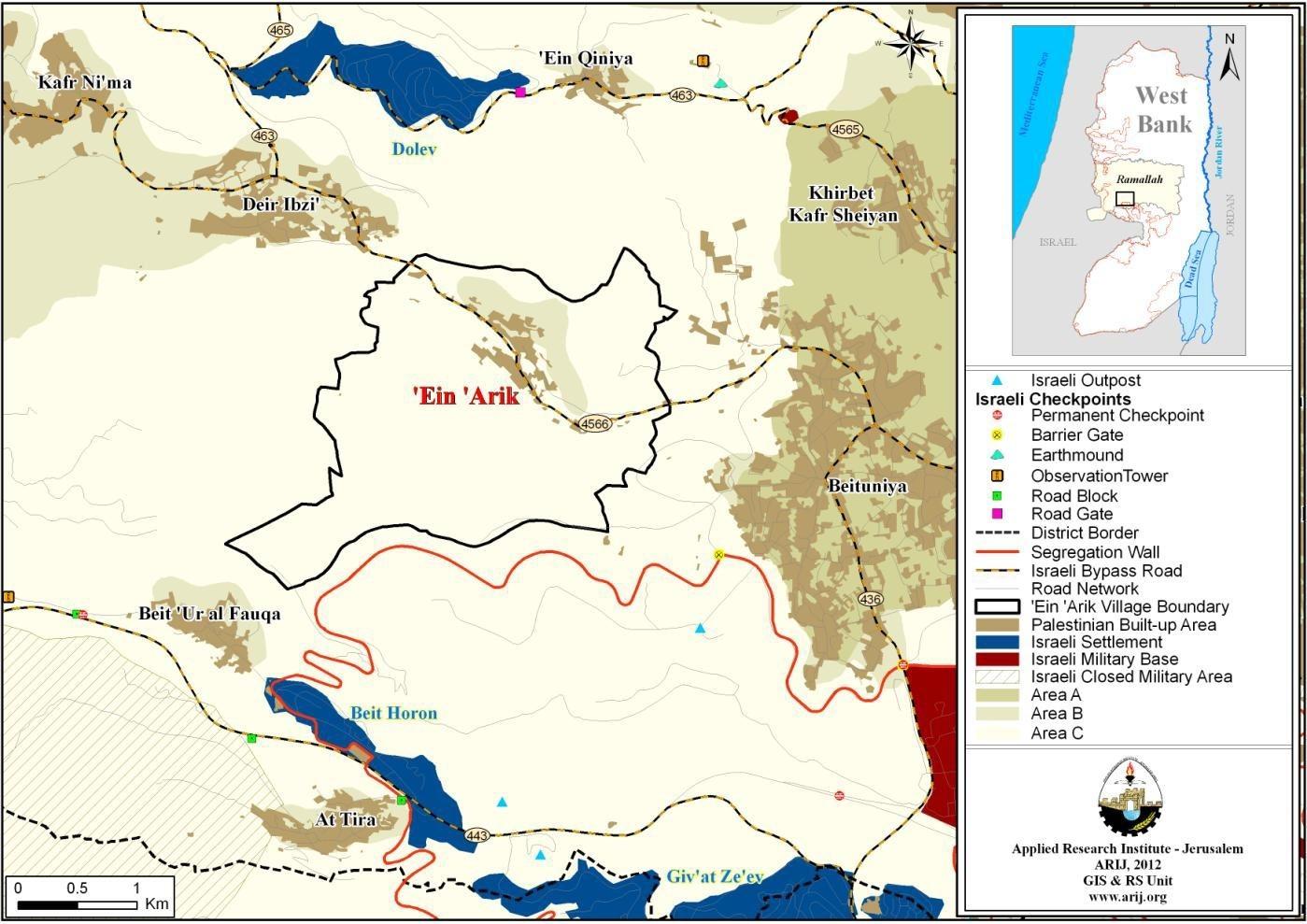 Map 1: 'Ein 'Arik location and borders