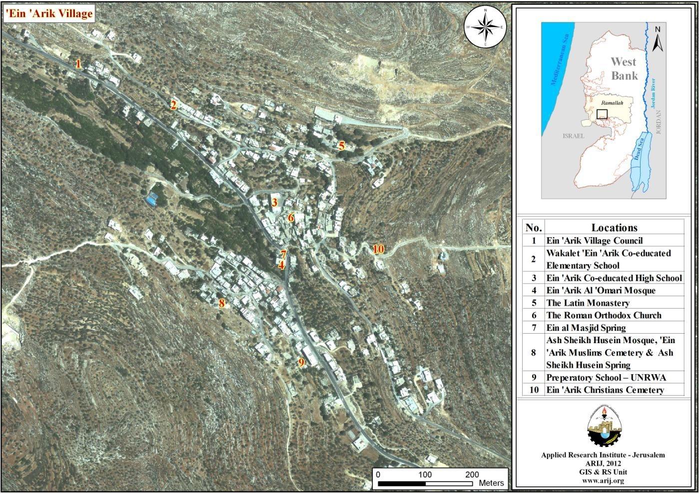 Map 2: Main locations in 'Ein 'Arik Village
