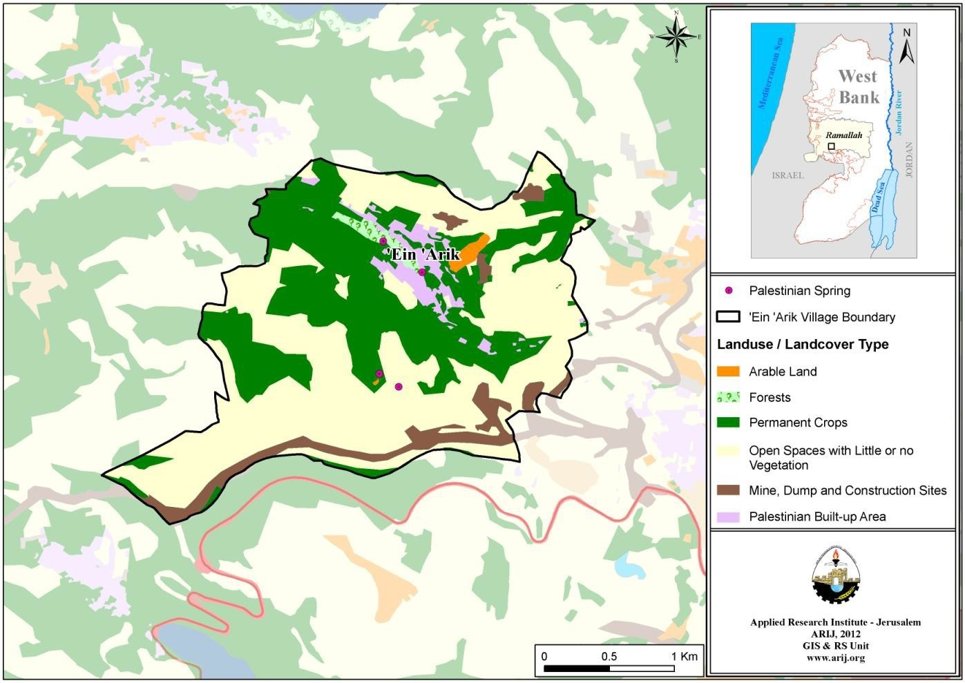 Map 3: Land use/land cover and Segregation Wall in 'Ein 'Arik Village